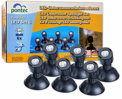 Pontec PondoStar Set of 6 White LED Spot Lights Garden Pond Illumination