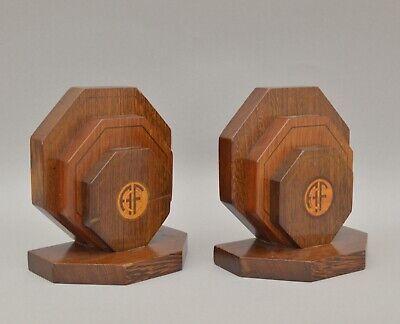 Paire de serre-livres Art Deco en bois