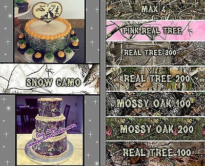 Camo Wedding Cake Toppers (Edible cake strips Camouflage Sugar wraps paper pink wedding sheets camo)