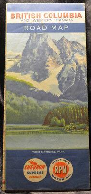 Vintage BRITIH COLUMBIA and WESTERN CANADA Chevron Supreme RPM Oil Road Map