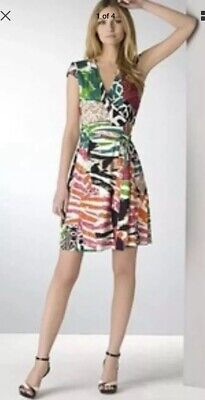 DIANE VON FURSTENBERG DVF Multicoloured 'JENNY VINTAGE' Wrap Silk Dress UK 8
