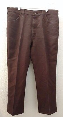 VINTAGE Wrangler brown pants 36x30 Regular fit men's jeans 1960-70's polyester?