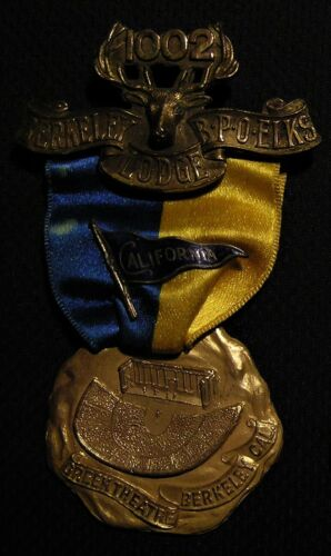 RARE 1909 BPOE ELKS 1002 UC BERKELEY THEATRE MEDAL CA CALIFORNIA PENNANT PIN