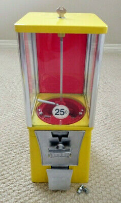 EAGLE YELLOW Gumball Vend Machine Candy Toy. Refurbished Tested. 1 Wheel+Lid.