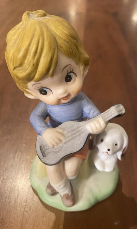 VINTAGE LITTLE BOY WITH GUITAR PUPPY PORCELAIN FIGURINE