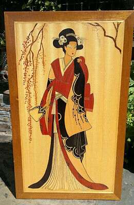 Large Marquetry Wood Inlaid Picture Geisha Girl Scene 30