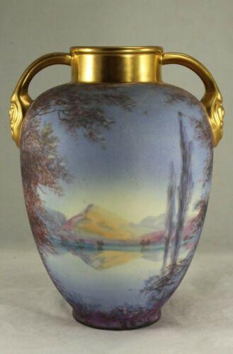 "Gorgeous Antique  Pickard 7"" Vellum TWILIGHT Pattern Sparta Vase - F. Cirnacti"