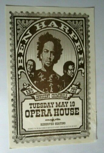 Ben Harper & The Innocent Criminals 1998 Opera House Concert Org Show Poster