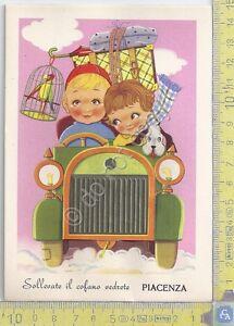 Cartolina-animata-e-illustrata-dal-cofano-auto-Piacenza-Serie-Monaco-039-50s