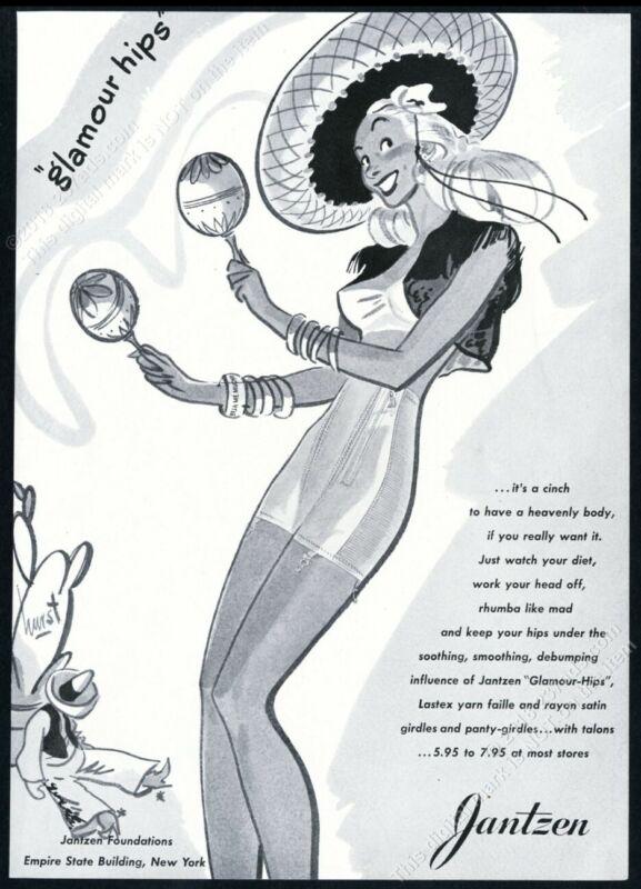 1944 Jantzen lingerie bra girdle Hurst pinup woman art vintage print ad