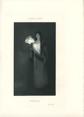 ANTIQUE VICTORIAN WOMAN NIGHTGOWN LAMP SLEEPWALKING SLEEP WALKING ART PRINT