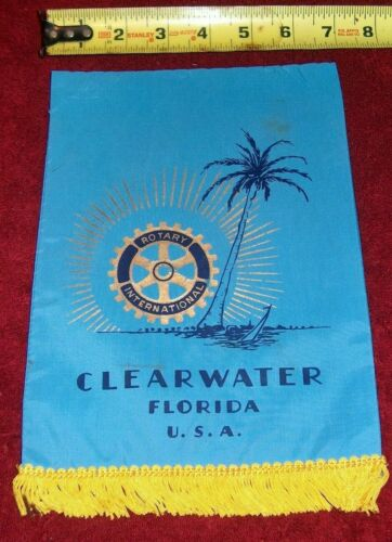 VINTAGE Rotary International Club wall banner flag    CLEARWATER   FLORIDA