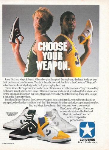 1986 Magic Johnson Larry Bird Photo Converse Weapon Sneaker Vintage Print Ad