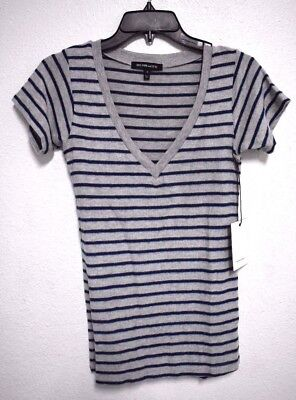 Nwt Hye Park and Lune Women's Vanessa V-neck Short Sleeve H.Gray Navy Top  2(M)