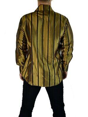 SHRINE CARNY GOTHIC VAMPIRE STEAMPUNK POET VICTORIAN GOLD BLACK TAFFETA SHIRT Casual Button-Down Shirts