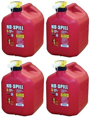 Lot Of 4 No-spill 1450 5-gallon Poly Gas Can Carb Compliant Red 5 Gal
