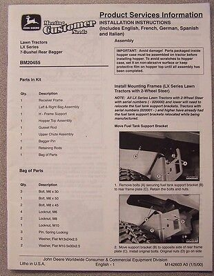 JOHN DEERE INSTALLATION INSTRUCTIONS FOR LX LAWN TRACTORS 7-BUSHEL REAR (Rear Bagger For John Deere Lawn Tractor)