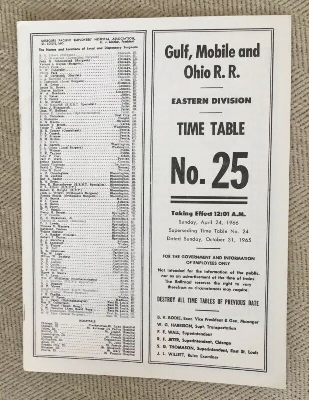 GM&O (Gulf Mobile and Ohio Railroad) 4/24/66 Employee Timetable-Eastern Division