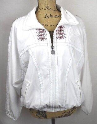 Vintage Kaelin Womens Size Medium Warm Up Jacket Windbreaker White