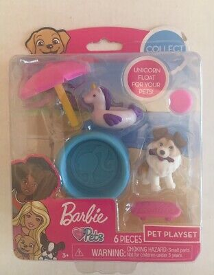 Barbie Pets Pet Playset 6 Pieces Unicorn Pool Float with Puppy NEW