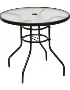 "40"" Round Tempered Glass Top Table for patio with umbrella"