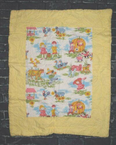 Vintage Nursery Rhyme Baby Blanket Quilt Thick Yellow  Handmade?