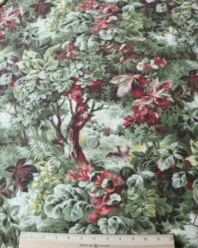 "Antique French 19thC Cotton Printed Forest Scenic Home Dec Fabric~L-96"" X W-32"""