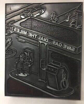 Vintage Letterpress Printers Block Wood Advertising Gas Station Dial Miles Save