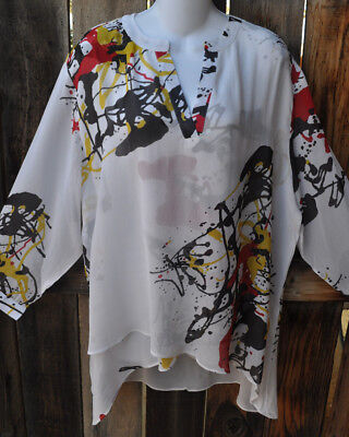 Dilemma Hand Painted Pollock Inspired Art Silk Art To Wear Asymmetric Tunic Os
