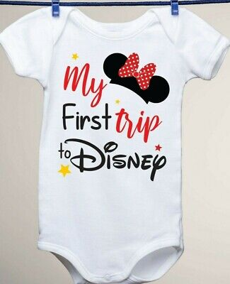 Disney Inspired, My First Trip to Disney Minnie Mouse Ears Baby Gerber Onesie - Baby Minnie Mouse Onesie