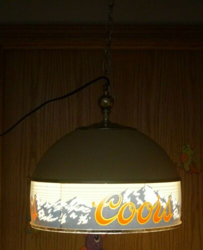 Vintage 1980 Coors Beer Hanging Lighted Advertising Sign Bar Poker Table Light 2