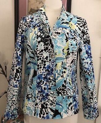 CHICO'S Abstract FLORAL JACKET SIZE 1 (M) STRETCH COTTON Black, Blues Green