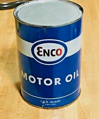 Full 1950's Enco / Esso 1 Quart Motor Oil Can SAE 20W-20
