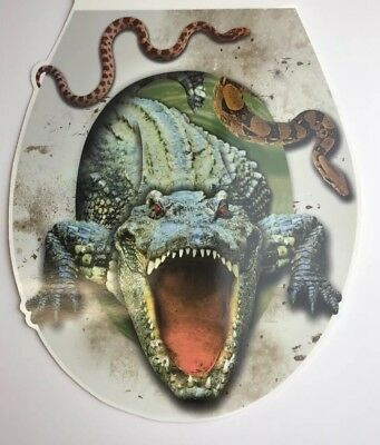 Halloween Decoration Creepy Prank Toilet Seat Lid Cover Cling Decal Alligator](Halloween Toilet)