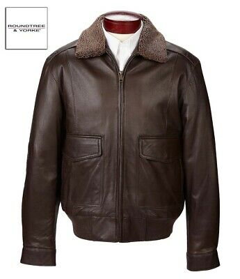 Roundtree and Yorke Genuine Lambskin Leather Bomber Jacket with Collar MSRP $495