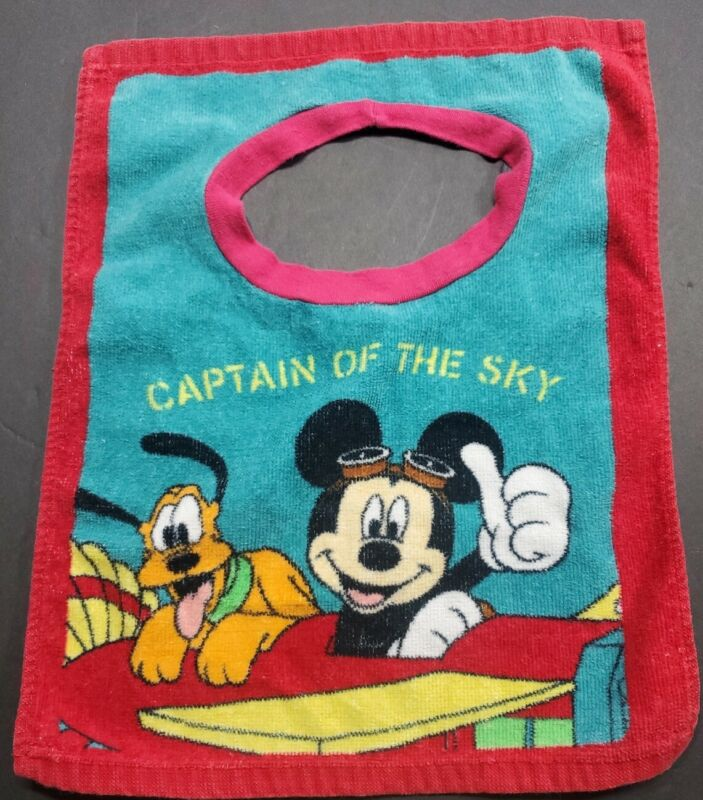 Disney Mickey Mouse Pluto Baby Bib Toddler Terry Cloth pullover.