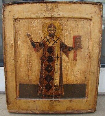 Orig. russische Ikone Heiliger Bischof um 1600-1650 wohl Moskau mit Expertise
