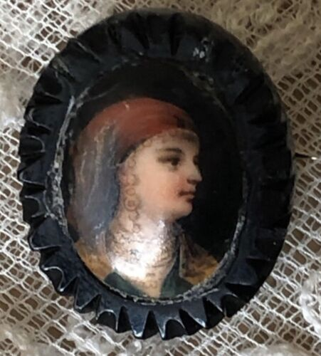 Antique Portrait Brooch Miniature Carved Whitby Jet Pin Victorian Edwardian Old