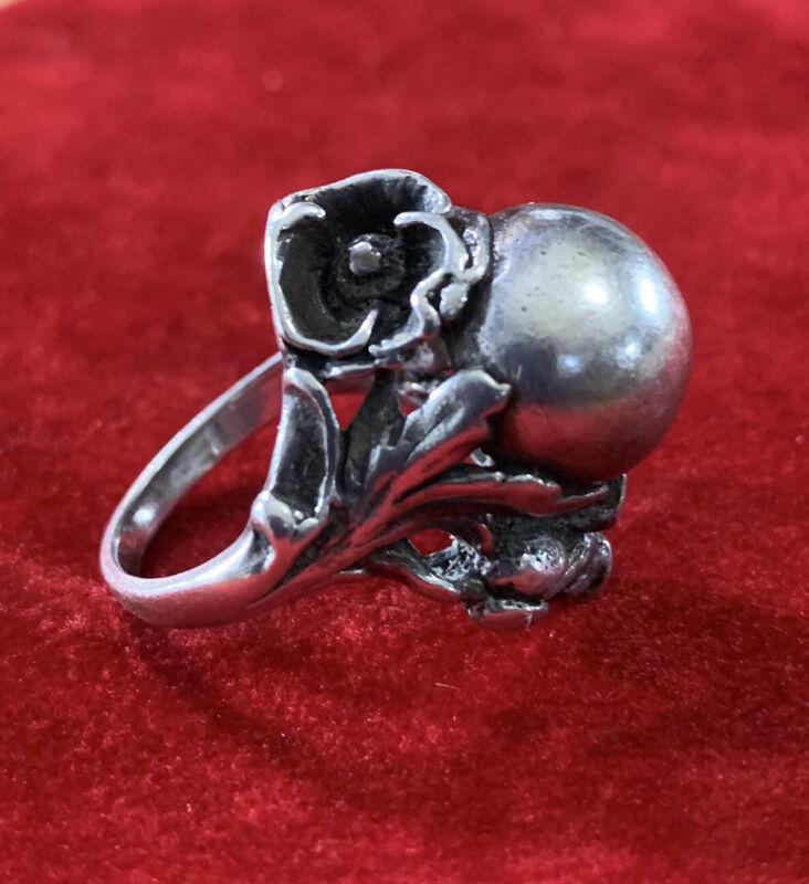 Vintage Art Nouveau Gazing Ball Orb Sterling Silver Ring Flower 5 High Profile