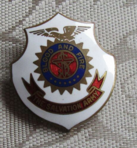 True Vintage Beautiful Enamel Salvation Army Pin Pinback Blood and Fire