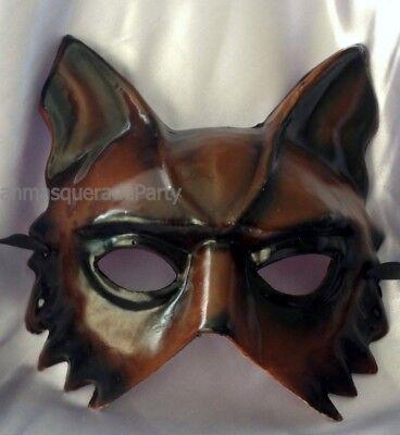 Handmade paper mache Half face Wolf mask Bachelor Steampunk Halloween Costume