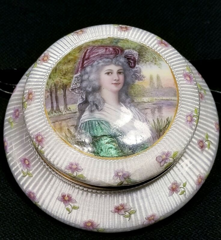 """French Hand Painted Enamel Box Signed """"Dorval""""  """" A S I S """"  (READ)"""