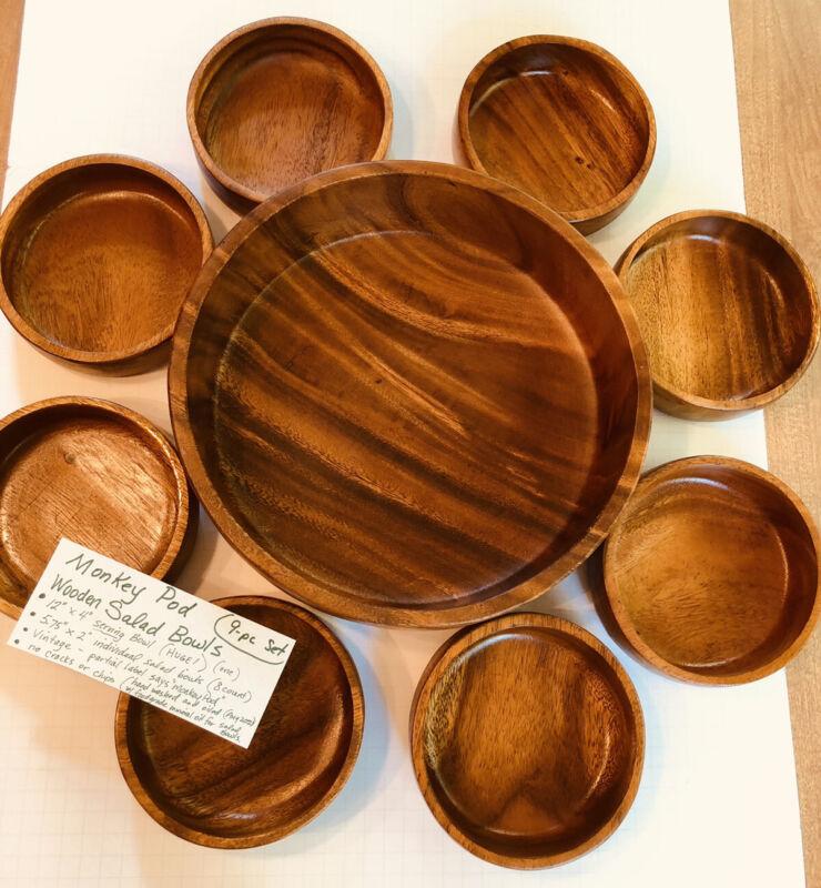 Vintage 9-pc Salad Bowl Set Monkey Pod Acacia Wood Honolulu Hawaii Philippines