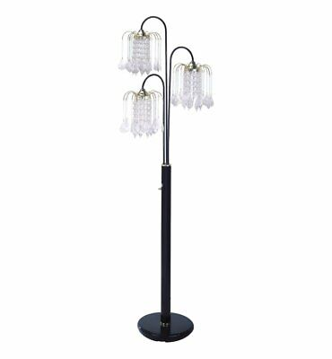 Hongville Elegance 3 Arm Chandelier Crystal Like Ornaments Shades Floor Lamp Bla