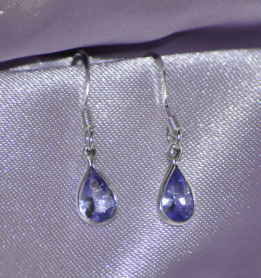 ONE PAIR 6mm x 4mm  PEAR SHAPE TANZANITE DROPS- EARRINGS SET IN STERLING SILVER