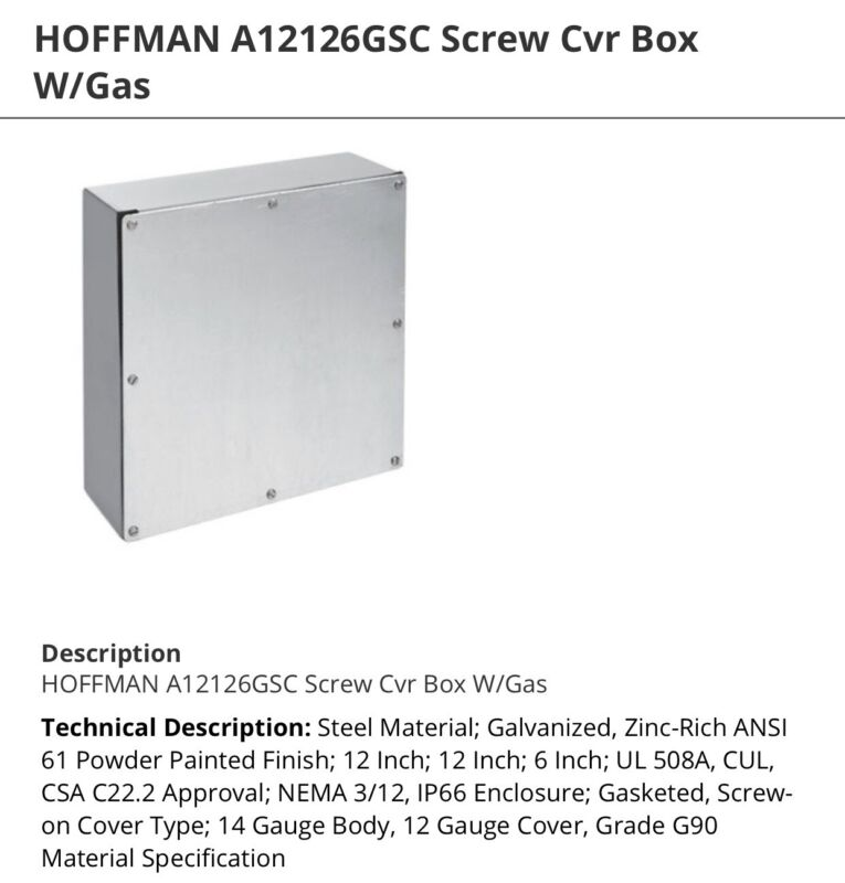 Hoffman A12126gsc Screw Cvr Box W/gasket