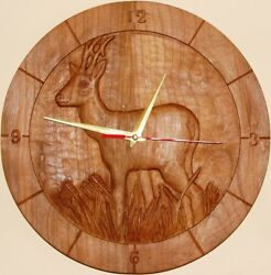 Roe Deer Gift Hand Carved Wood Wall Clock Hunting Lodge New Black Forest