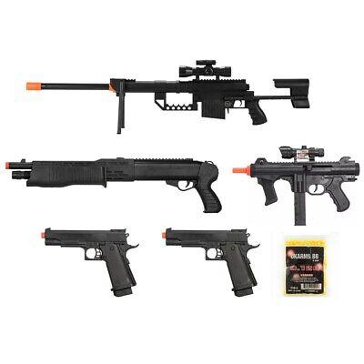 5 PC AIRSOFT GUNS SET SPRING SNIPER RIFLE SHOTGUN PISTOLS w/ 1000 6mm BB BBs Lot ()