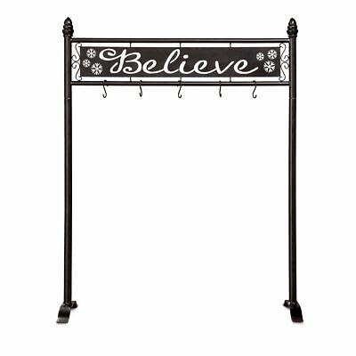 Black Metal Freestanding BELIEVE Christmas Stocking Holder Hanger Stand Holiday ()
