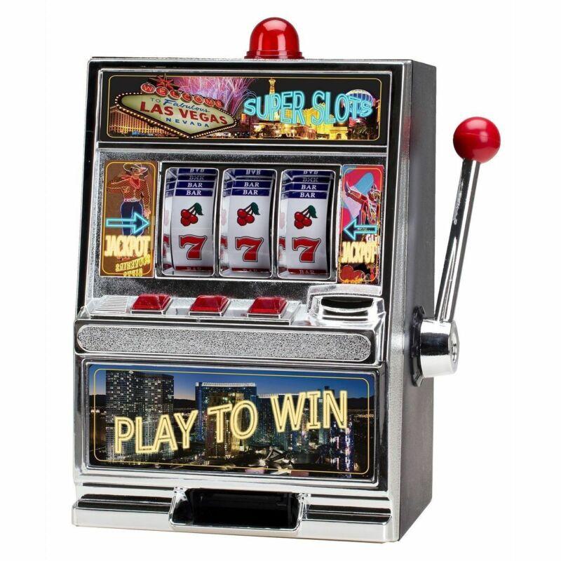 Mini Home Slot Machine Las Vegas Style Casino Coin Bank With Winning Light